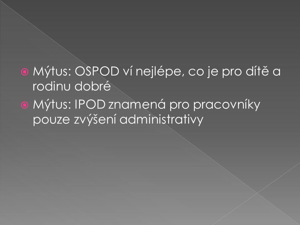  Mýtus: OSPOD ví nejlépe, co je pro dítě a rodinu dobré  Mýtus: IPOD znamená pro pracovníky pouze zvýšení administrativy