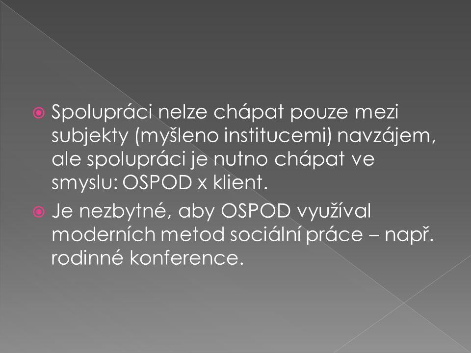  Spolupráci nelze chápat pouze mezi subjekty (myšleno institucemi) navzájem, ale spolupráci je nutno chápat ve smyslu: OSPOD x klient.  Je nezbytné,