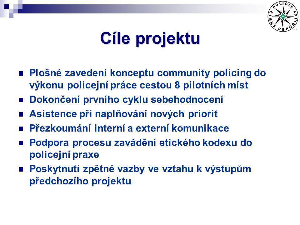 Cíle projektu Plošné zavedení konceptu community policing do výkonu policejní práce cestou 8 pilotních míst Dokončení prvního cyklu sebehodnocení Asistence při naplňování nových priorit Přezkoumání interní a externí komunikace Podpora procesu zavádění etického kodexu do policejní praxe Poskytnutí zpětné vazby ve vztahu k výstupům předchozího projektu