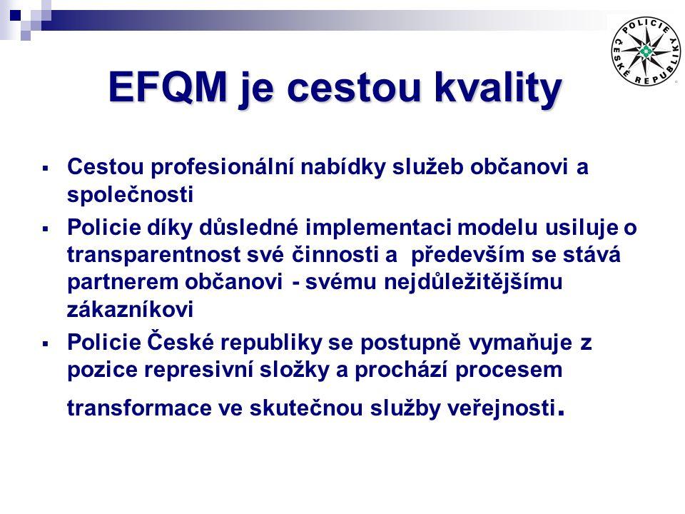 EFQM je cestou kvality  Cestou profesionální nabídky služeb občanovi a společnosti  Policie díky důsledné implementaci modelu usiluje o transparentnost své činnosti a především se stává partnerem občanovi - svému nejdůležitějšímu zákazníkovi  Policie České republiky se postupně vymaňuje z pozice represivní složky a prochází procesem transformace ve skutečnou služby veřejnosti.