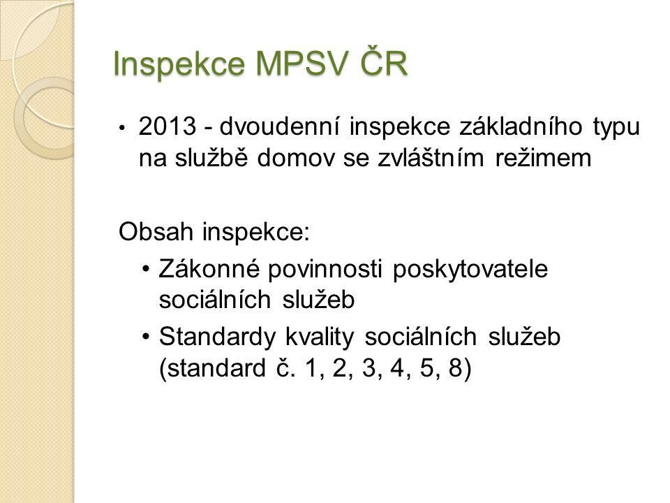 Inspekce MPSV ČR 2013 - dvoudenní inspekce základního typu na službě domov se zvláštním režimem Obsah inspekce: Zákonné povinnosti poskytovatele sociálních služeb Standardy kvality sociálních služeb (standard č.
