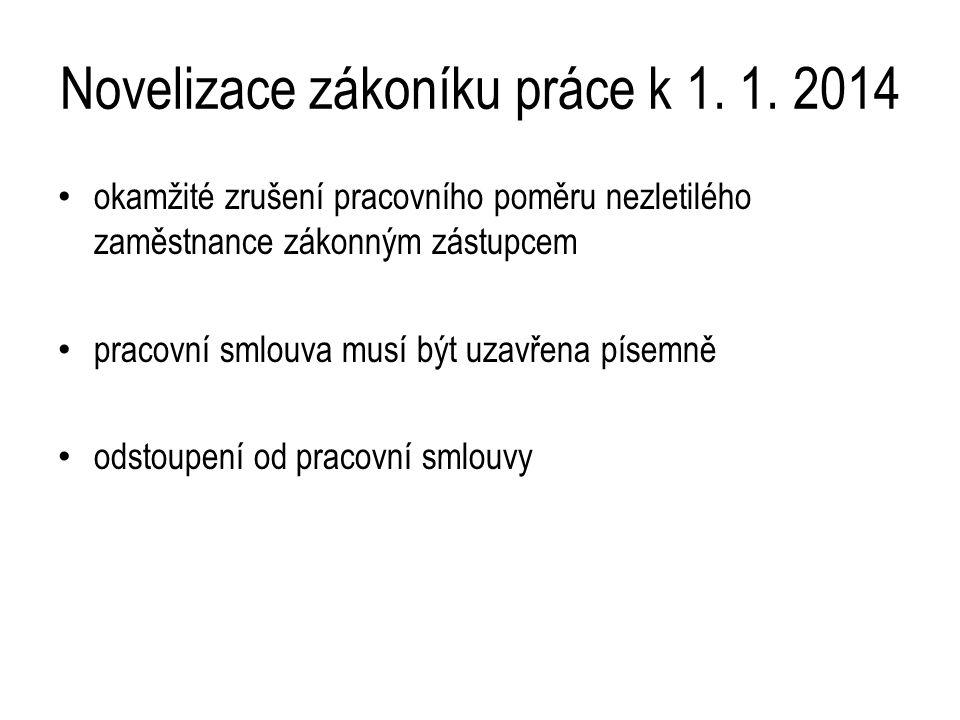 Novelizace zákoníku práce k 1. 1.