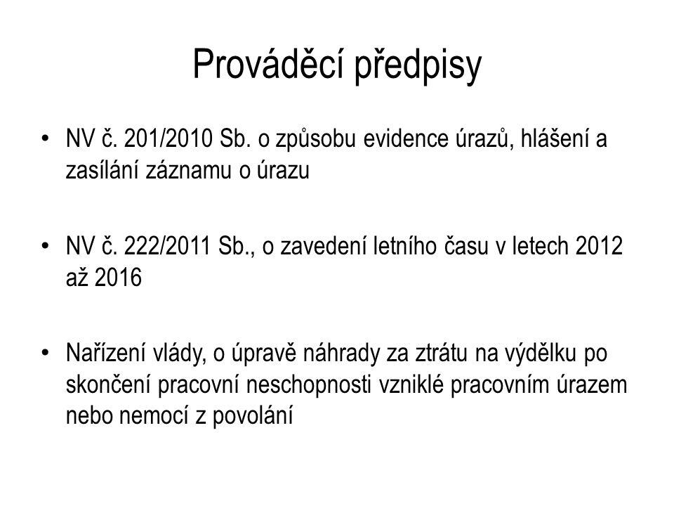 Prováděcí předpisy NV č. 201/2010 Sb.