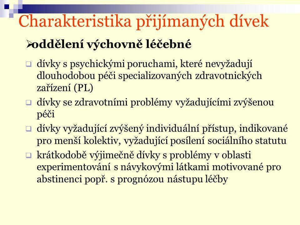 Charakteristika přijímaných dívek  dívky s psychickými poruchami, které nevyžadují dlouhodobou péči specializovaných zdravotnických zařízení (PL)  dívky se zdravotními problémy vyžadujícími zvýšenou péči  dívky vyžadující zvýšený individuální přístup, indikované pro menší kolektiv, vyžadující posílení sociálního statutu  krátkodobě výjimečně dívky s problémy v oblasti experimentování s návykovými látkami motivované pro abstinenci popř.