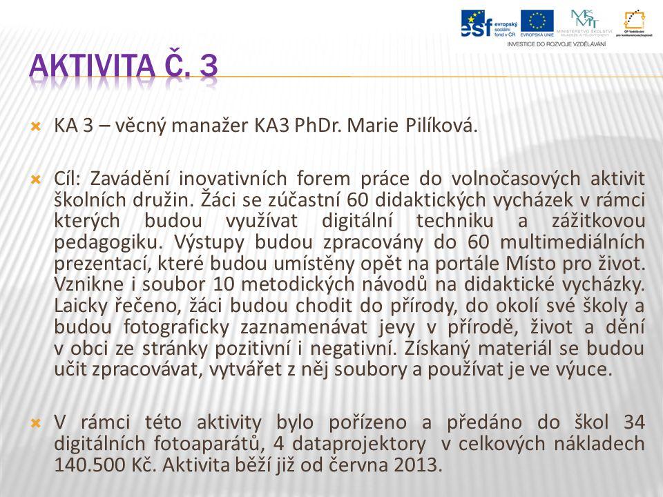  KA 3 – věcný manažer KA3 PhDr. Marie Pilíková.