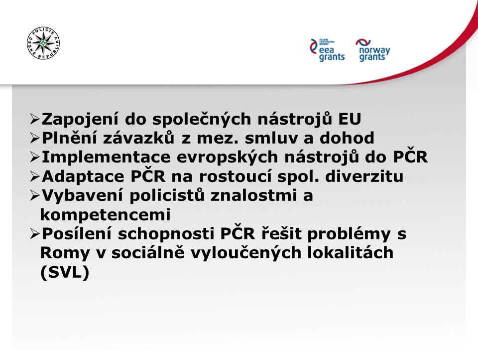  Zapojení do společných nástrojů EU  Plnění závazků z mez. smluv a dohod  Implementace evropských nástrojů do PČR  Adaptace PČR na rostoucí spol.