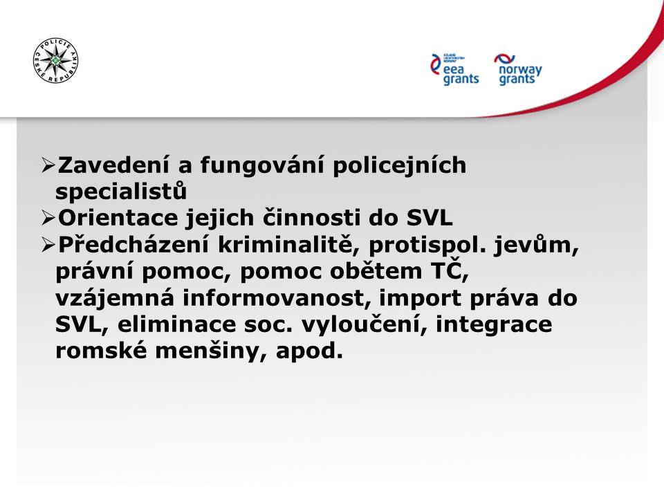  Zavedení a fungování policejních specialistů  Orientace jejich činnosti do SVL  Předcházení kriminalitě, protispol. jevům, právní pomoc, pomoc obě