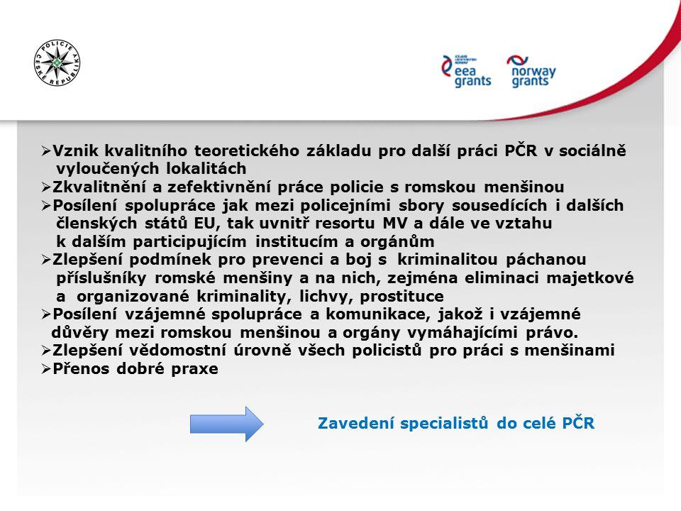  Vznik kvalitního teoretického základu pro další práci PČR v sociálně vyloučených lokalitách  Zkvalitnění a zefektivnění práce policie s romskou menšinou  Posílení spolupráce jak mezi policejními sbory sousedících i dalších členských států EU, tak uvnitř resortu MV a dále ve vztahu k dalším participujícím institucím a orgánům  Zlepšení podmínek pro prevenci a boj s kriminalitou páchanou příslušníky romské menšiny a na nich, zejména eliminaci majetkové a organizované kriminality, lichvy, prostituce  Posílení vzájemné spolupráce a komunikace, jakož i vzájemné důvěry mezi romskou menšinou a orgány vymáhajícími právo.