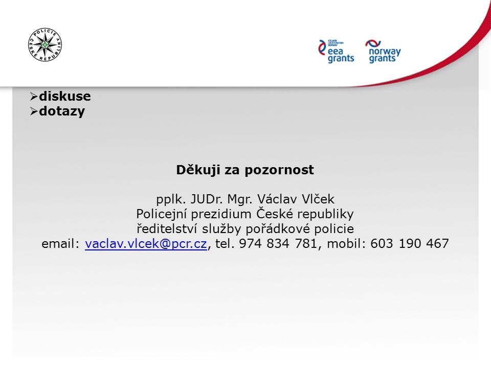 diskuse  dotazy Děkuji za pozornost pplk. JUDr. Mgr. Václav Vlček Policejní prezidium České republiky ředitelství služby pořádkové policie email: v