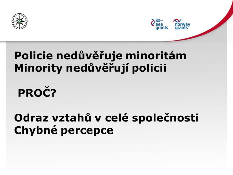Policie nedůvěřuje minoritám Minority nedůvěřují policii PROČ? Odraz vztahů v celé společnosti Chybné percepce