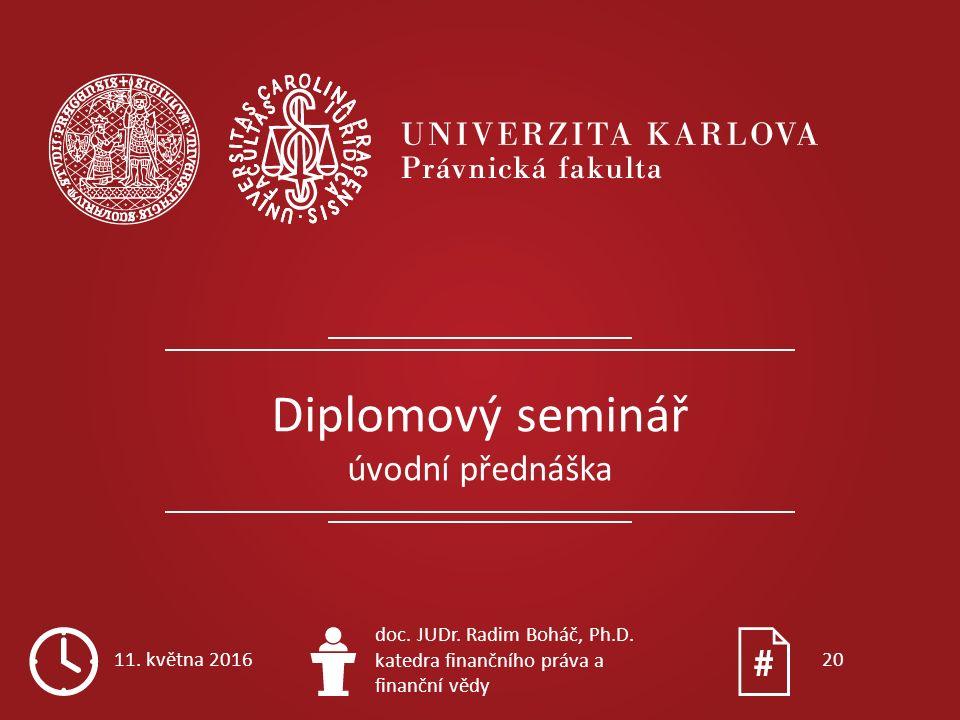 Diplomový seminář úvodní přednáška 11. května 2016 doc. JUDr. Radim Boháč, Ph.D. katedra finančního práva a finanční vědy 20