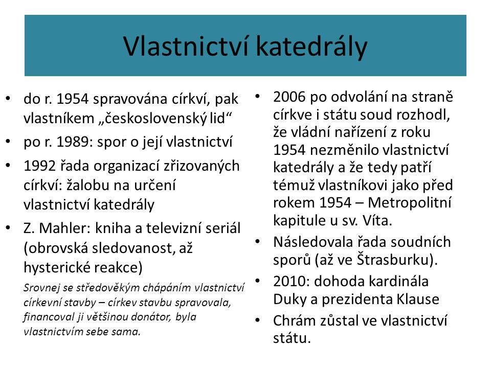 """Vlastnictví katedrály do r. 1954 spravována církví, pak vlastníkem """"československý lid"""" po r. 1989: spor o její vlastnictví 1992 řada organizací zřizo"""