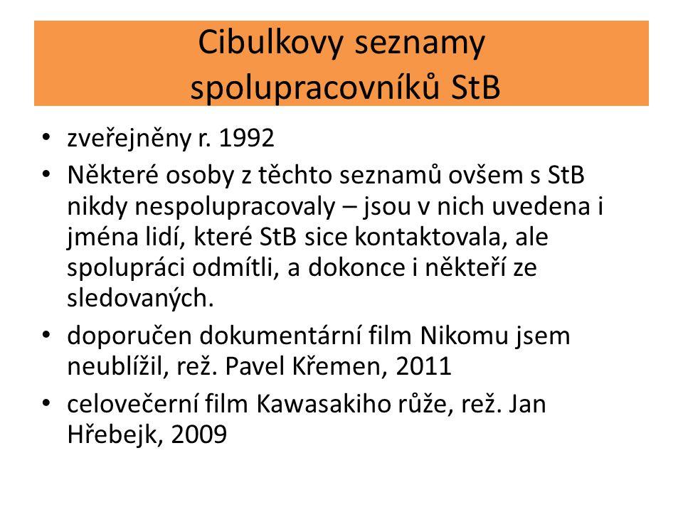 Cibulkovy seznamy spolupracovníků StB zveřejněny r. 1992 Některé osoby z těchto seznamů ovšem s StB nikdy nespolupracovaly – jsou v nich uvedena i jmé