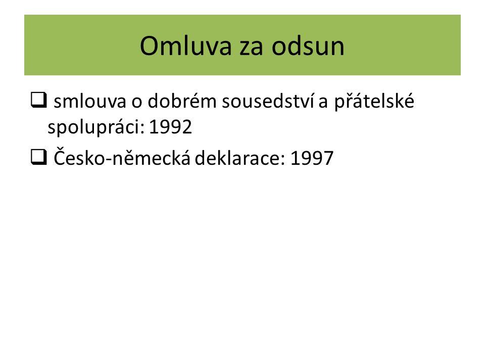 Omluva za odsun  smlouva o dobrém sousedství a přátelské spolupráci: 1992  Česko-německá deklarace: 1997