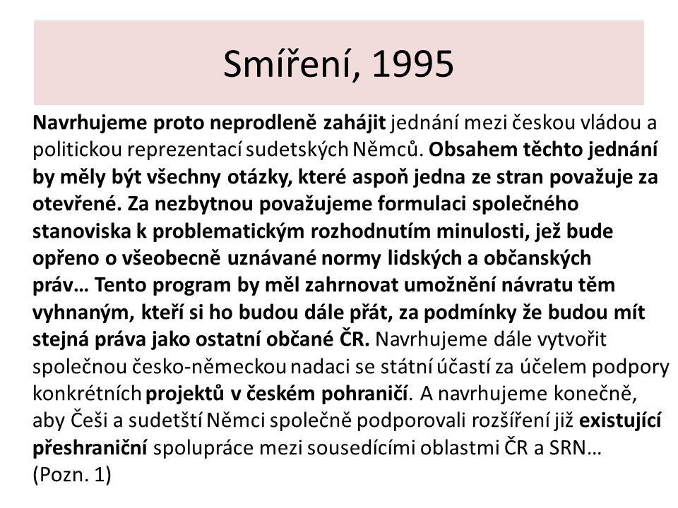 Smíření, 1995 Navrhujeme proto neprodleně zahájit jednání mezi českou vládou a politickou reprezentací sudetských Němců. Obsahem těchto jednání by měl