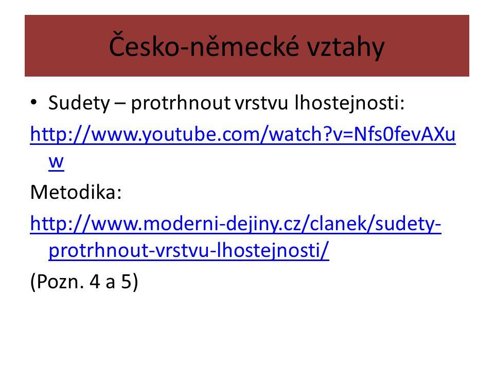 Česko-německé vztahy Sudety – protrhnout vrstvu lhostejnosti: http://www.youtube.com/watch v=Nfs0fevAXu w Metodika: http://www.moderni-dejiny.cz/clanek/sudety- protrhnout-vrstvu-lhostejnosti/ (Pozn.