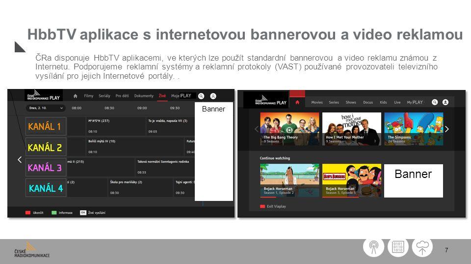 7 HbbTV aplikace s internetovou bannerovou a video reklamou ČRa disponuje HbbTV aplikacemi, ve kterých lze použít standardní bannerovou a video reklamu známou z Internetu.
