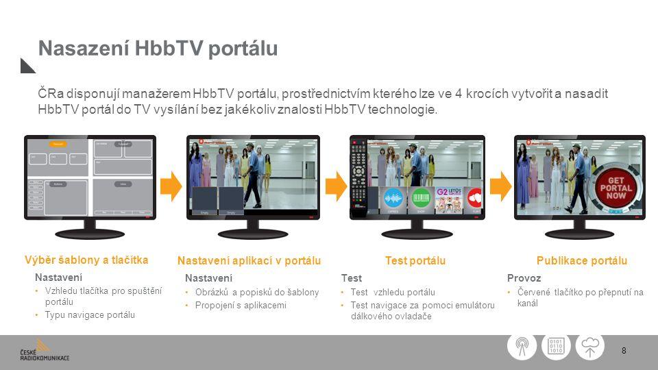 8 Nasazení HbbTV portálu Výběr šablony a tlačítka Nastavení Vzhledu tlačítka pro spuštění portálu Typu navigace portálu Test portálu Test Test vzhledu portálu Test navigace za pomoci emulátoru dálkového ovladače Nastavení aplikací v portálu Nastavení Obrázků a popisků do šablony Propojení s aplikacemi ČRa disponují manažerem HbbTV portálu, prostřednictvím kterého lze ve 4 krocích vytvořit a nasadit HbbTV portál do TV vysílání bez jakékoliv znalosti HbbTV technologie.