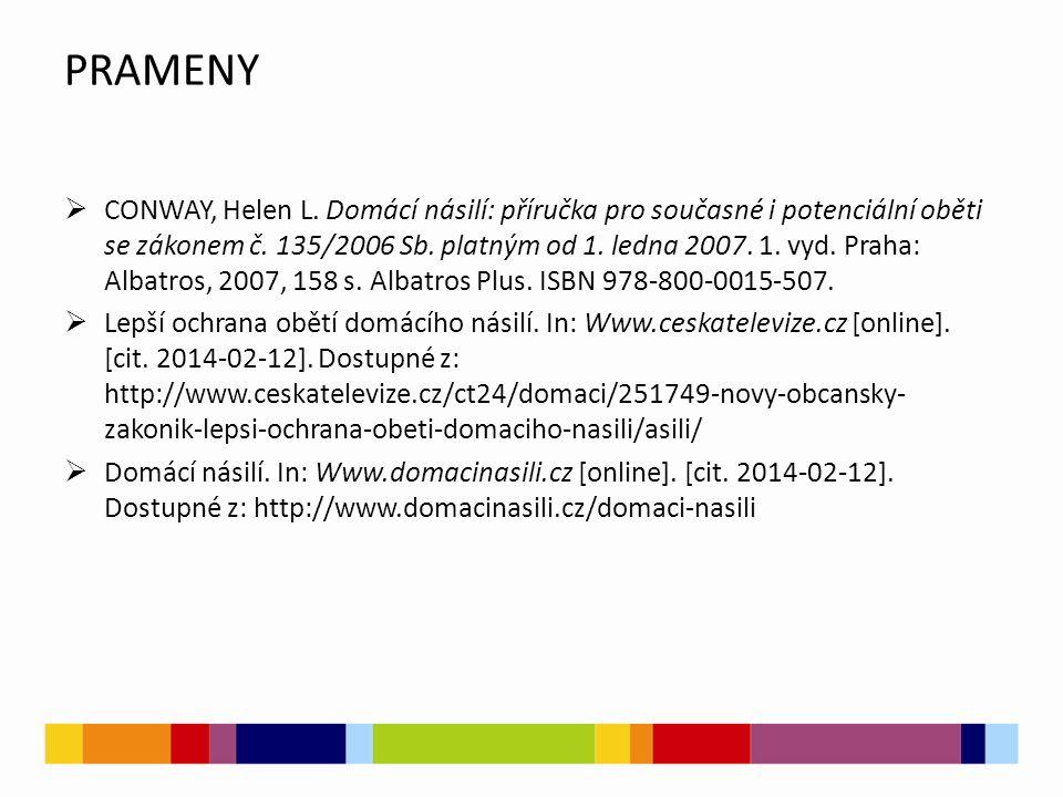 PRAMENY  CONWAY, Helen L. Domácí násilí: příručka pro současné i potenciální oběti se zákonem č.