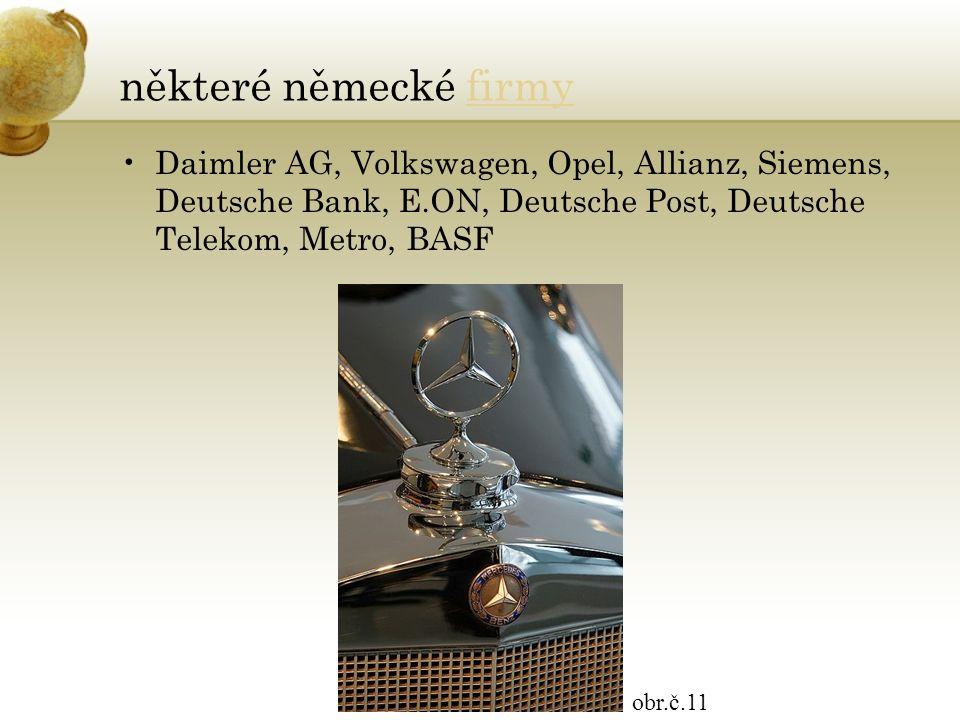 některé německé firmyfirmy Daimler AG, Volkswagen, Opel, Allianz, Siemens, Deutsche Bank, E.ON, Deutsche Post, Deutsche Telekom, Metro, BASF obr.č.11