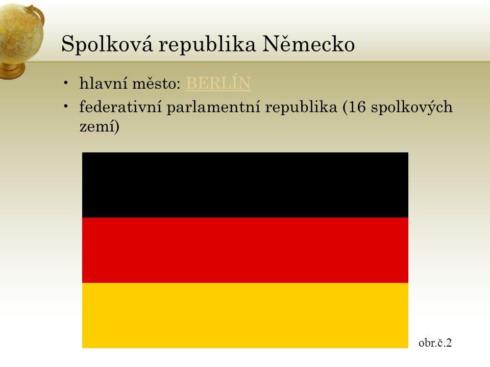 Spolková republika Německo hlavní město: BERLÍNBERLÍN federativní parlamentní republika (16 spolkových zemí) obr.č.2