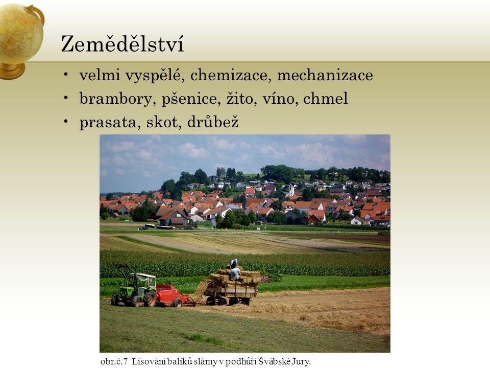Zemědělství velmi vyspělé, chemizace, mechanizace brambory, pšenice, žito, víno, chmel prasata, skot, drůbež obr.č.7 Lisování balíků slámy v podhůří Š