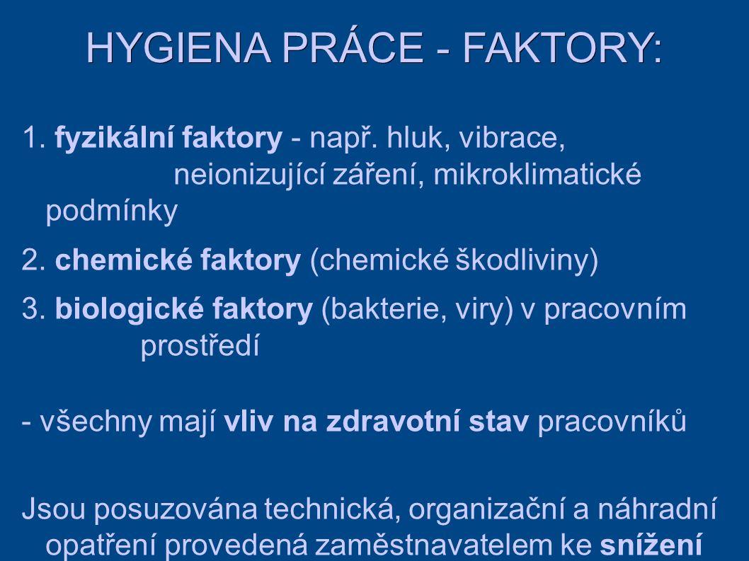 HYGIENA PRÁCE - FAKTORY: 1. fyzikální faktory - např.