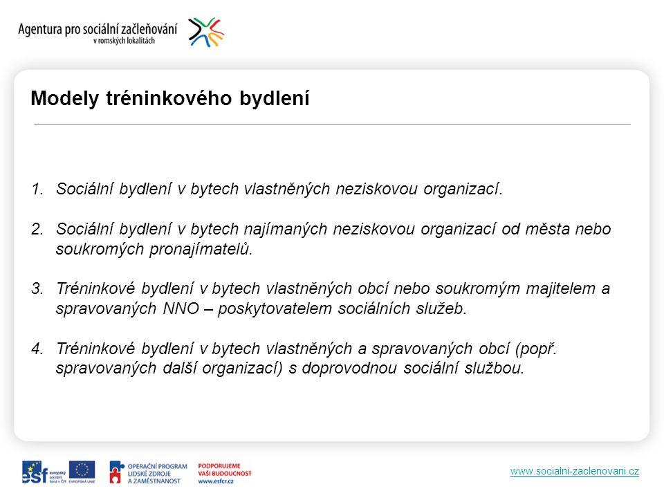 www.socialni-zaclenovani.cz Modely tréninkového bydlení 1.Sociální bydlení v bytech vlastněných neziskovou organizací.