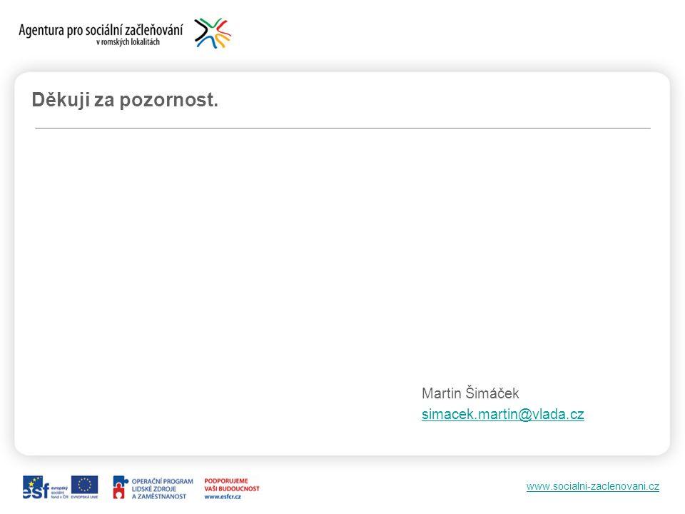 www.socialni-zaclenovani.cz Děkuji za pozornost. Martin Šimáček simacek.martin@vlada.cz