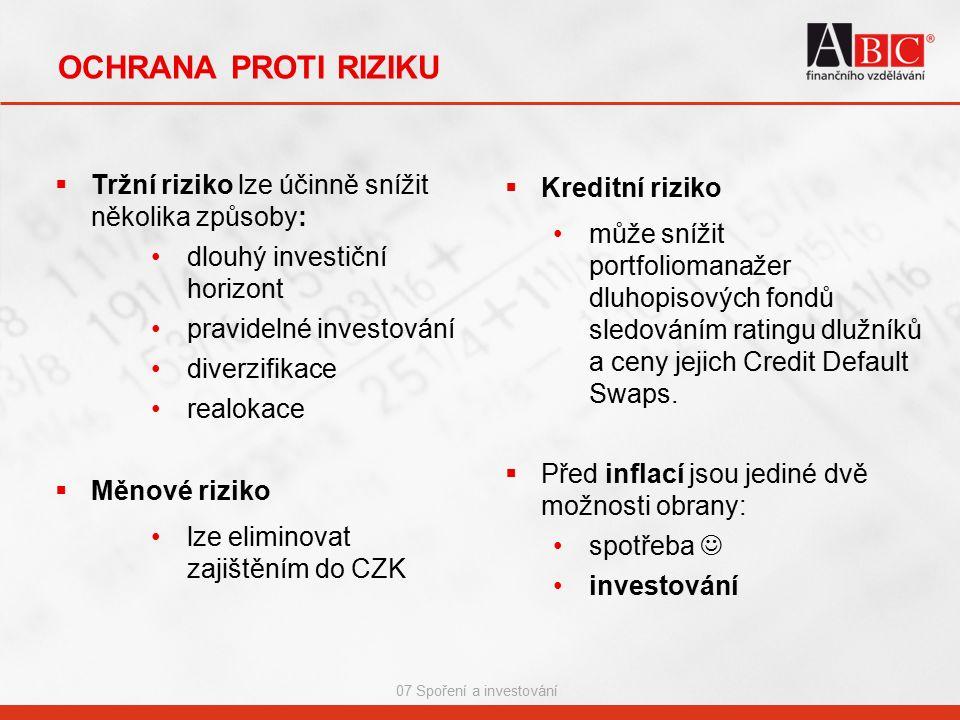 07 Spoření a investování OCHRANA PROTI RIZIKU  Tržní riziko lze účinně snížit několika způsoby: dlouhý investiční horizont pravidelné investování diverzifikace realokace  Měnové riziko lze eliminovat zajištěním do CZK  Kreditní riziko může snížit portfoliomanažer dluhopisových fondů sledováním ratingu dlužníků a ceny jejich Credit Default Swaps.