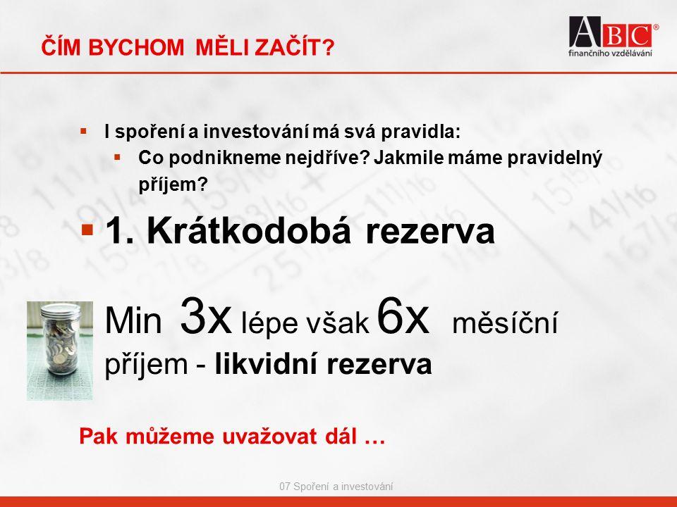 07 Spoření a investování KOLEKTIVNÍ INVESTOVÁNÍ - SCORING  Scoring Czech Rating Agency Jednotlivé fondy jsou seřazeny do žebříčků dle každého ukazatele tři žebříčky (dle výnosnosti, rizika a stability) pořadí je závislé výlučně na srovnání výsledků v rámci dané skupiny po seřazení je výsledná řada rozdělena do pěti pásem podle hodnot ukazatelů, každému pásmu je přiřazena známka od jedné do pěti prostým aritmetickým průměrem je z dílčích známek vypočtena známka výsledná a stanoven celkový žebříček, který se rozdělí do 5 pásem nejlepší nejhorší 15%          20%        30%      20%    15% 