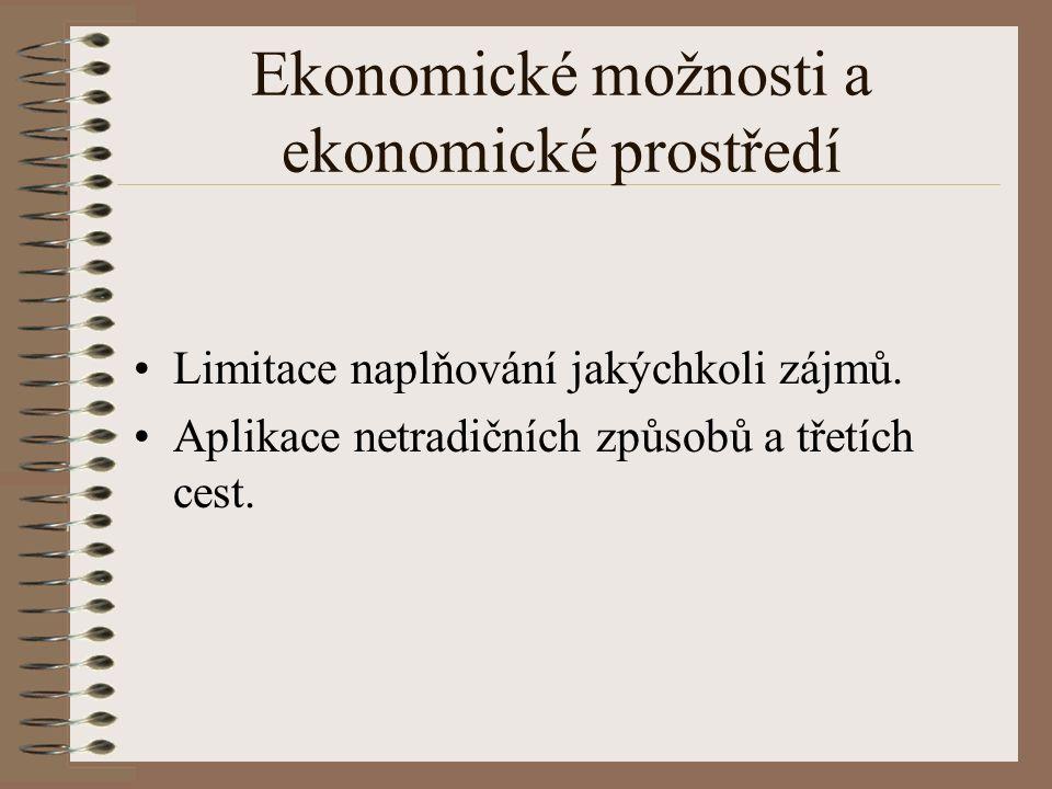 Ekonomické možnosti a ekonomické prostředí Limitace naplňování jakýchkoli zájmů.