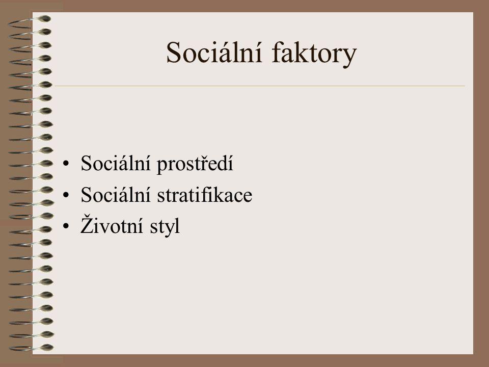 Sociální faktory Sociální prostředí Sociální stratifikace Životní styl