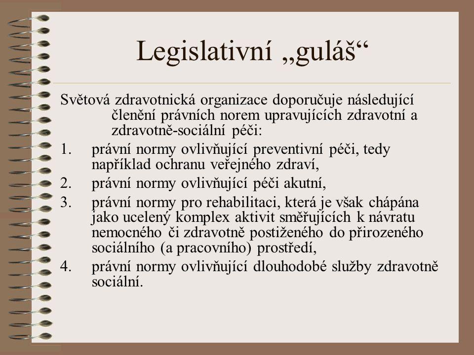 """Legislativní """"guláš Světová zdravotnická organizace doporučuje následující členění právních norem upravujících zdravotní a zdravotně-sociální péči: 1.právní normy ovlivňující preventivní péči, tedy například ochranu veřejného zdraví, 2.právní normy ovlivňující péči akutní, 3.právní normy pro rehabilitaci, která je však chápána jako ucelený komplex aktivit směřujících k návratu nemocného či zdravotně postiženého do přirozeného sociálního (a pracovního) prostředí, 4.právní normy ovlivňující dlouhodobé služby zdravotně sociální."""