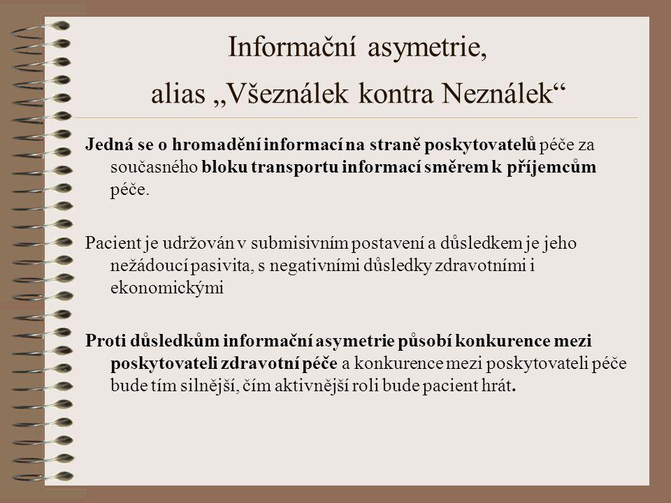 """Informační asymetrie, alias """"Všeználek kontra Neználek Jedná se o hromadění informací na straně poskytovatelů péče za současného bloku transportu informací směrem k příjemcům péče."""