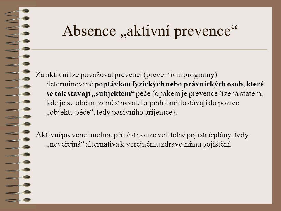 """Absence """"aktivní prevence Za aktivní lze považovat prevenci (preventivní programy) determinované poptávkou fyzických nebo právnických osob, které se tak stávají """"subjektem péče (opakem je prevence řízená státem, kde je se občan, zaměstnavatel a podobně dostávají do pozice """"objektu péče , tedy pasivního příjemce)."""