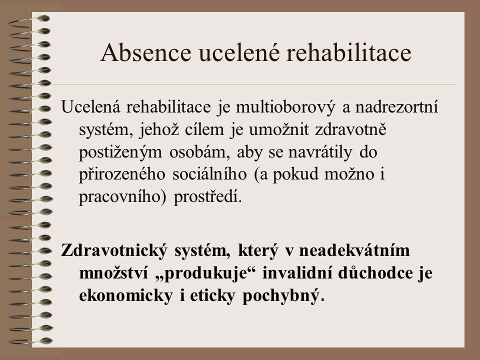 Absence ucelené rehabilitace Ucelená rehabilitace je multioborový a nadrezortní systém, jehož cílem je umožnit zdravotně postiženým osobám, aby se navrátily do přirozeného sociálního (a pokud možno i pracovního) prostředí.