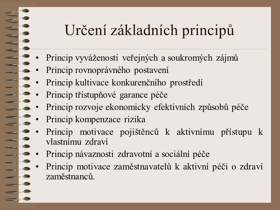Určení základních principů Princip vyváženosti veřejných a soukromých zájmů Princip rovnoprávného postavení Princip kultivace konkurenčního prostředí Princip třístupňové garance péče Princip rozvoje ekonomicky efektivních způsobů péče Princip kompenzace rizika Princip motivace pojištěnců k aktivnímu přístupu k vlastnímu zdraví Princip návaznosti zdravotní a sociální péče Princip motivace zaměstnavatelů k aktivní péči o zdraví zaměstnanců.