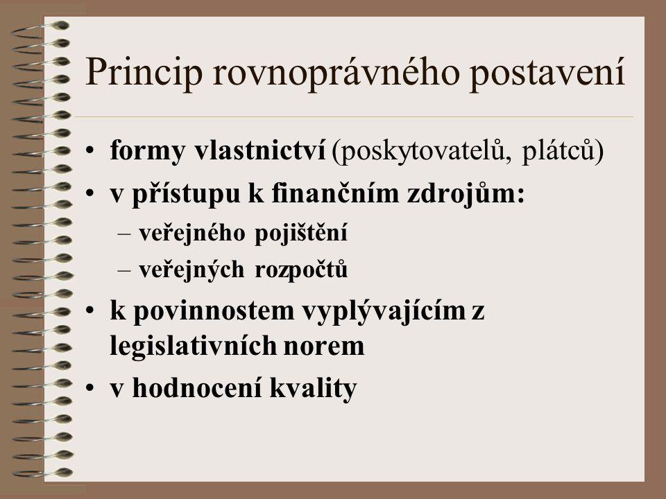 Princip rovnoprávného postavení formy vlastnictví (poskytovatelů, plátců) v přístupu k finančním zdrojům: –veřejného pojištění –veřejných rozpočtů k povinnostem vyplývajícím z legislativních norem v hodnocení kvality