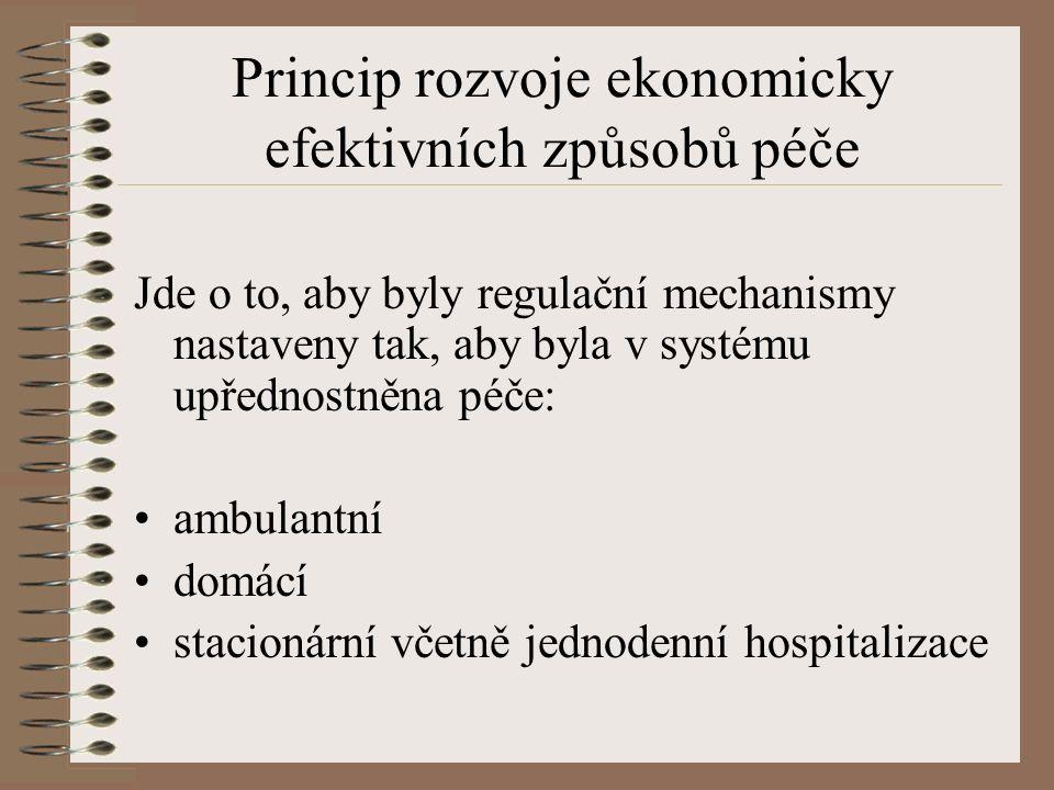 Princip rozvoje ekonomicky efektivních způsobů péče Jde o to, aby byly regulační mechanismy nastaveny tak, aby byla v systému upřednostněna péče: ambulantní domácí stacionární včetně jednodenní hospitalizace