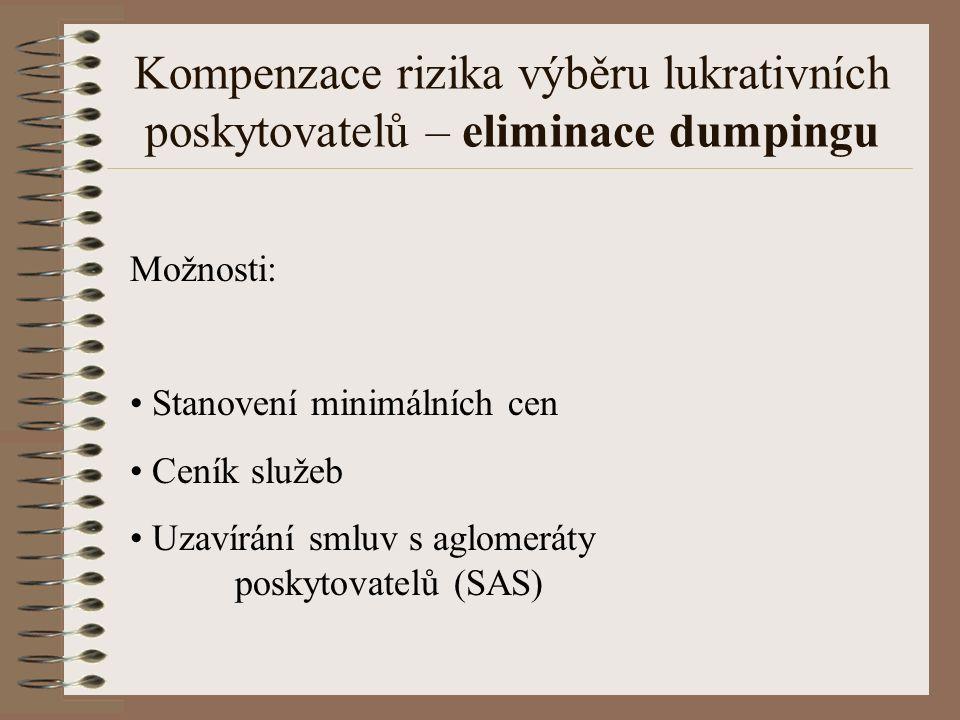 Možnosti: Stanovení minimálních cen Ceník služeb Uzavírání smluv s aglomeráty poskytovatelů (SAS) Kompenzace rizika výběru lukrativních poskytovatelů – eliminace dumpingu