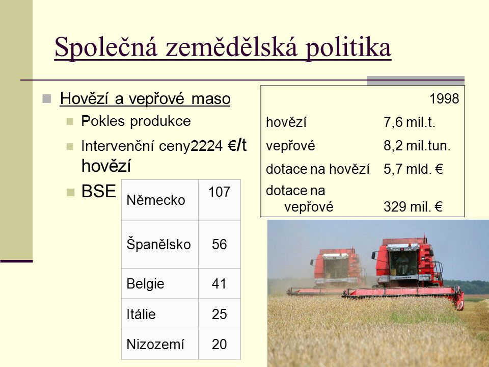 Společná zemědělská politika Hovězí a vepřové maso Pokles produkce Intervenční ceny2224 € /t hovězí BSE 1998 hovězí7,6 mil.t. vepřové8,2 mil.tun. dota
