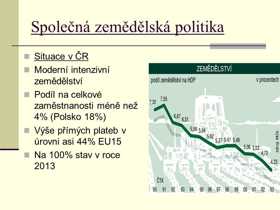 Společná zemědělská politika Situace v ČR Moderní intenzivní zemědělství Podíl na celkové zaměstnanosti méně než 4% (Polsko 18%) Výše přímých plateb v úrovni asi 44% EU15 Na 100% stav v roce 2013