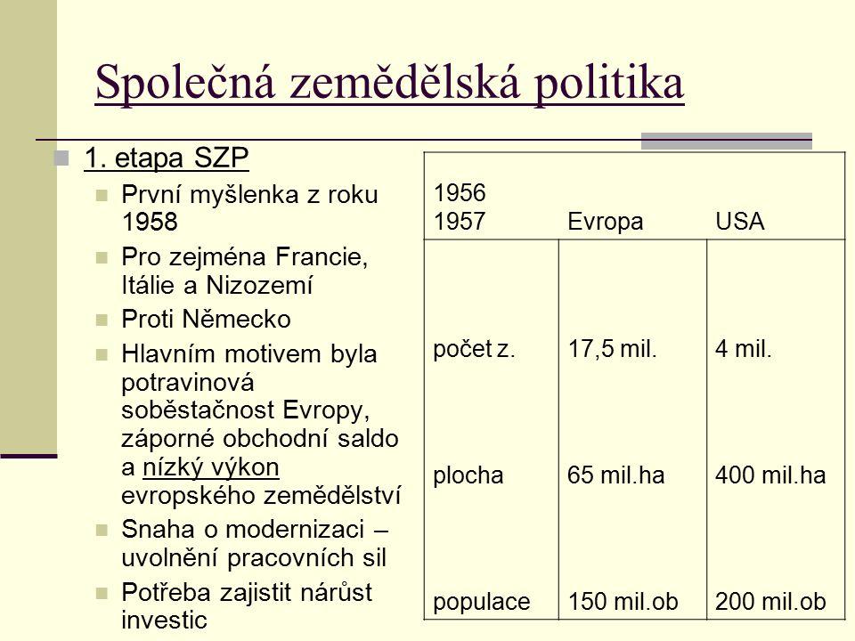 Společná zemědělská politika 1. etapa SZP První myšlenka z roku 1958 Pro zejména Francie, Itálie a Nizozemí Proti Německo Hlavním motivem byla potravi
