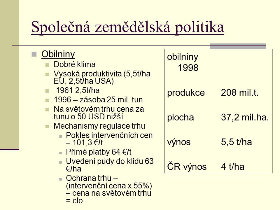 Společná zemědělská politika Obilniny Dobré klima Vysoká produktivita (5,5t/ha EU, 2,5t/ha USA) 1961 2,5t/ha 1996 – zásoba 25 mil. tun Na světovém trh