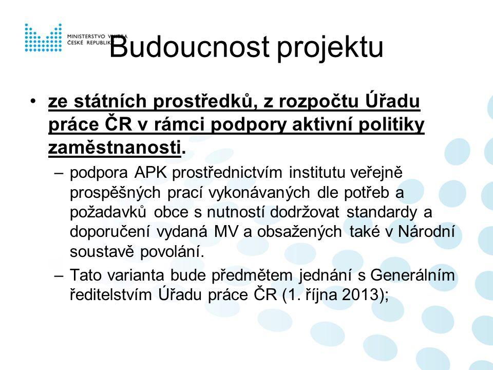 Budoucnost projektu ze státních prostředků, z rozpočtu Úřadu práce ČR v rámci podpory aktivní politiky zaměstnanosti.