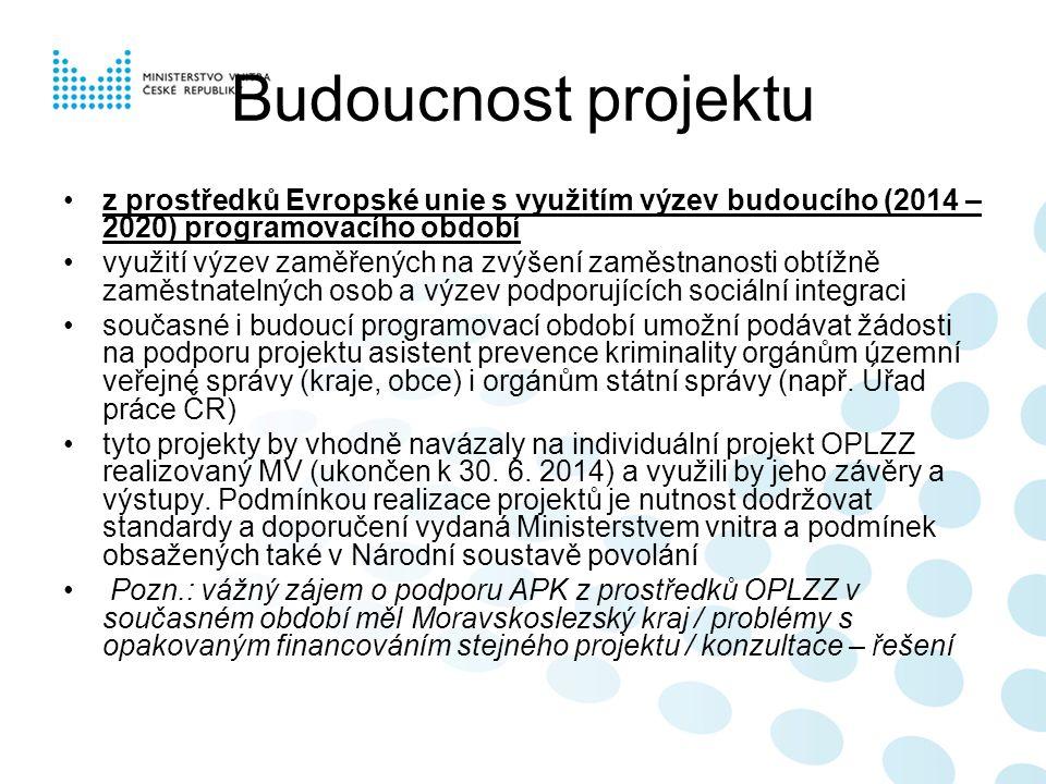 Budoucnost projektu z prostředků Evropské unie s využitím výzev budoucího (2014 – 2020) programovacího období využití výzev zaměřených na zvýšení zaměstnanosti obtížně zaměstnatelných osob a výzev podporujících sociální integraci současné i budoucí programovací období umožní podávat žádosti na podporu projektu asistent prevence kriminality orgánům územní veřejné správy (kraje, obce) i orgánům státní správy (např.