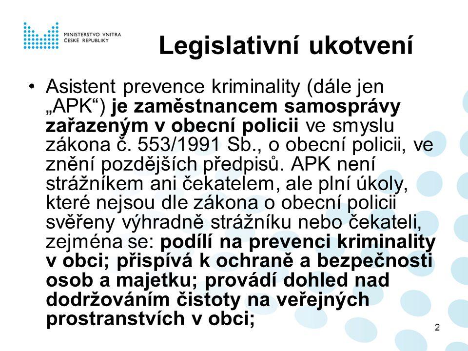 """2 Legislativní ukotvení Asistent prevence kriminality (dále jen """"APK ) je zaměstnancem samosprávy zařazeným v obecní policii ve smyslu zákona č."""
