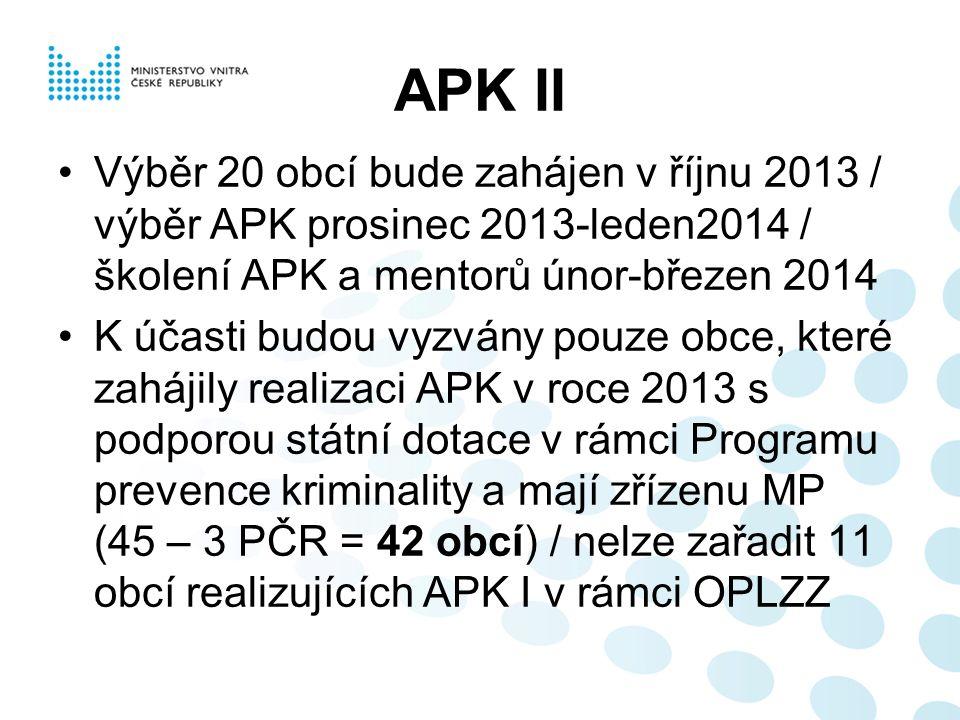 APK II Výběr 20 obcí bude zahájen v říjnu 2013 / výběr APK prosinec 2013-leden2014 / školení APK a mentorů únor-březen 2014 K účasti budou vyzvány pouze obce, které zahájily realizaci APK v roce 2013 s podporou státní dotace v rámci Programu prevence kriminality a mají zřízenu MP (45 – 3 PČR = 42 obcí) / nelze zařadit 11 obcí realizujících APK I v rámci OPLZZ