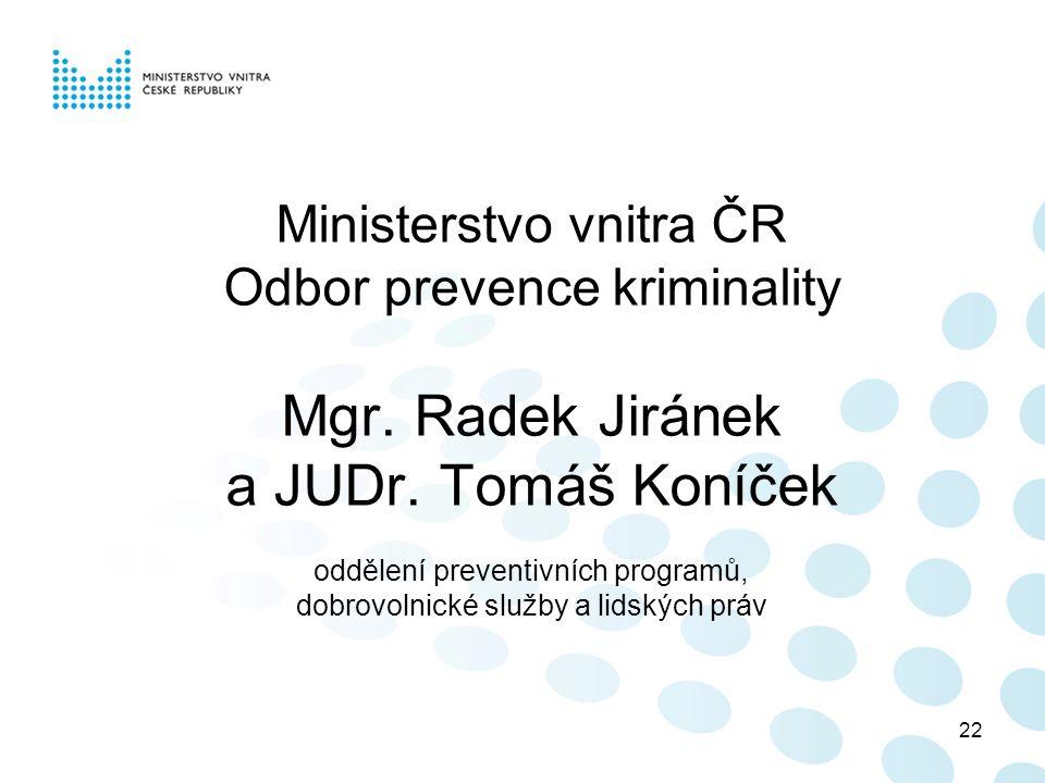 22 Ministerstvo vnitra ČR Odbor prevence kriminality Mgr.